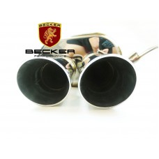 "Becker Catback 2004-2010 BMW E60 525 528 530 535 2.5"" Pipe OD, 2.7"" ID TIp DIameter, 3.9"" Length, Single Exhaust BSS Finish, 1 Pc, Dual TIp."