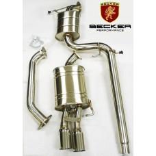 "Becker Catback 05-10 VW Jetta MK5 Sedan 2.5L 3Pc. 2.7"" OD Pipe, 3.1""OD Tip Diameter, 0.4"" Flange Thickness Single Exit Exhaust, Brushed Stainless Steel, 3 Pcs + 2G + 4NB. BEX12372"